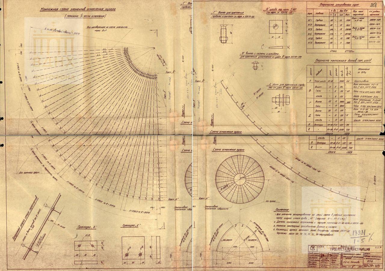 Павильон механизации. Монтажная схема элементов остекления купола