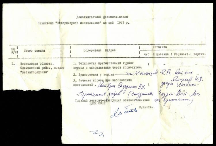 """Бланк дополнительного фотоплана-заказа павильона """"Ветеринарная поликлиника"""" на  май 1973 г."""